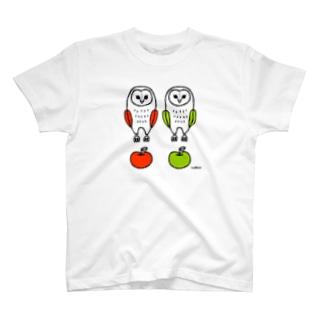 nachiccoのフクロウとリンゴ T-shirts