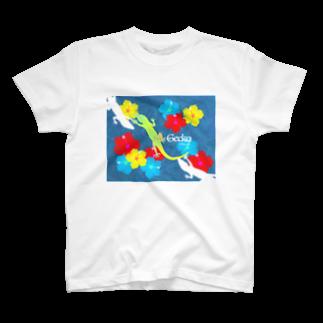 都市伝説屋cilF✴︎シルフのハワイアンヤモリnavy T-shirts