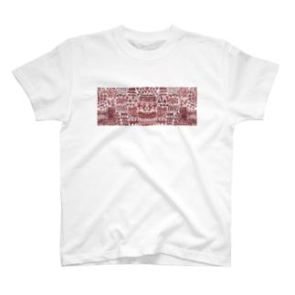 壁画のような文様の横長 T-shirts