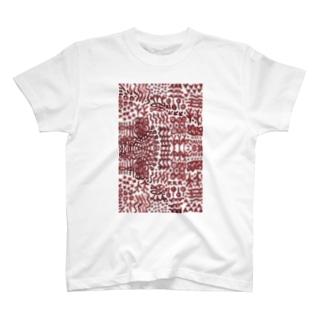 壁画のような文様の縦長 T-shirts