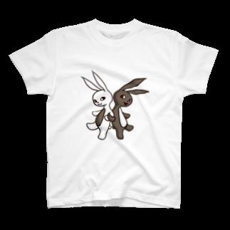 ponsukeの腹黒ウサギと腹白ウサギ T-shirts