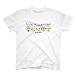 【もじゃやさいぬ】みんなならんで T-shirts