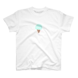 名前入れアイス★ブルー T-shirts