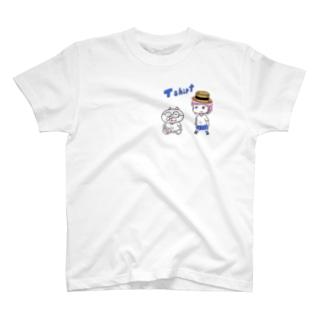 メガネコくんと女の子 T-shirts