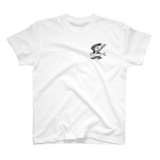落ちない鯖(黒) T-shirts