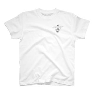 「たぷの里と一輪車の少女」(ワンポイント)  T-shirts