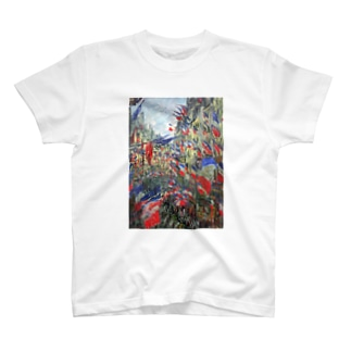クロード・モネ / The Rue Montargueil with Flags T-shirts