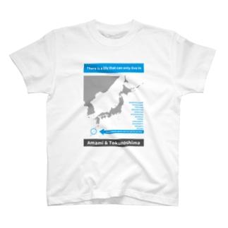 生物多様性シリーズAMAMI&TOKUNOSHIMA(片面ver) T-shirts