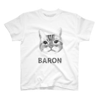 サバトラ猫 BARON モノクロ T-shirts