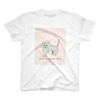 ゆるねこパステル もじ入り Tシャツ
