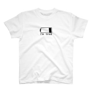 電池切れでお疲れ状態(BLACK_LOGO) T-shirts