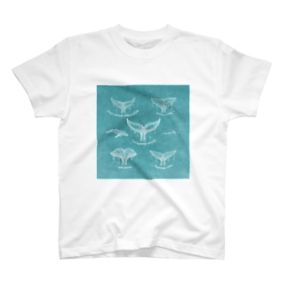 Whales Tail Collection1  retro blue T-shirts