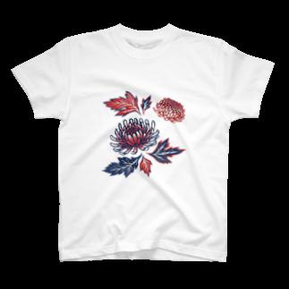 akaneyabushitaの【日本レトロ#03】菊 T-shirts