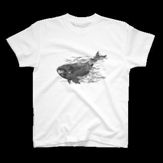 いきものイラストショップのセミクジラ T-shirts