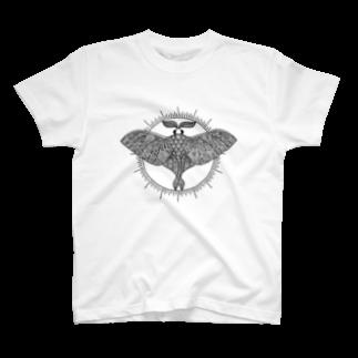 アトリエ蟲人のオオミズアオ 線画(黒ver) T-shirts
