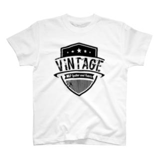 MLF-Vintage Emblemシリーズ-blackロゴ T-shirts