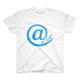 at sign blue T-shirts