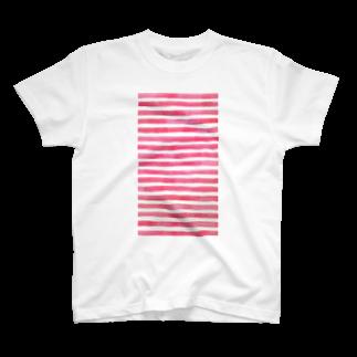 Teatime ティータイムのピンク ストライプ 水彩 絵の具 T-shirts