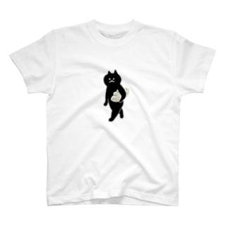 餃子をMacBookのように持ち運ぶ猫(中) T-shirts