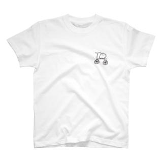 自転車に乗れたウサギ T-shirts