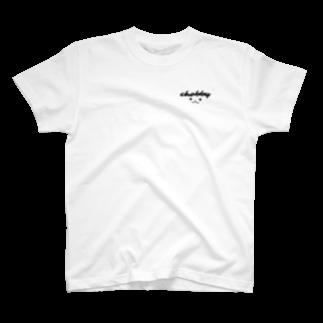 e. @LINEスタンプ販売中のウサギ Chobby. ロゴ T-shirts