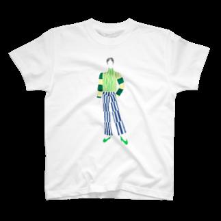 Makoto/真珡のストライプの林 T-shirts