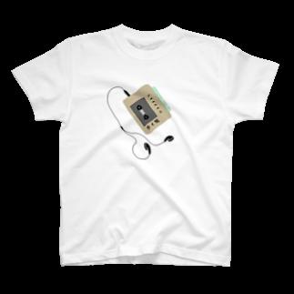 ひよこねこ ショップ 1号店のカセットプレーヤー(歩く男2) T-shirts