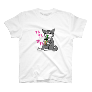 浅木愁太@LINEスタンプ販売中のタピタピ柴さん(黒柴) T-shirts