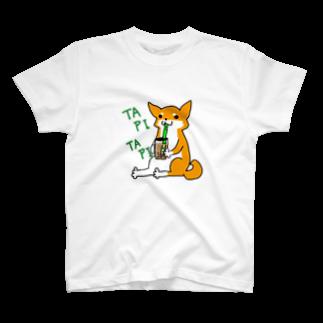 浅木愁太@LINEスタンプ販売中のタピタピ柴さん(赤柴) T-shirts