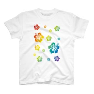 レインボーハイビスカス T-shirts