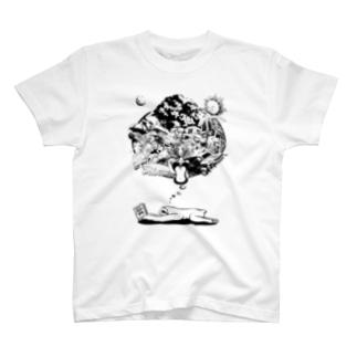 なまけものの夢 モノクロ T-shirts