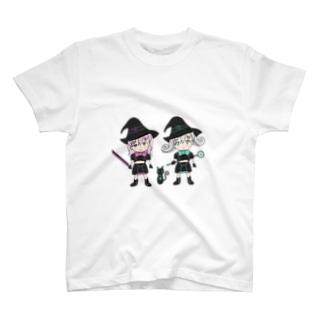 Black Witch Meeting Magic Girl ブラックウィッチ集合ミニキャラ T-shirts