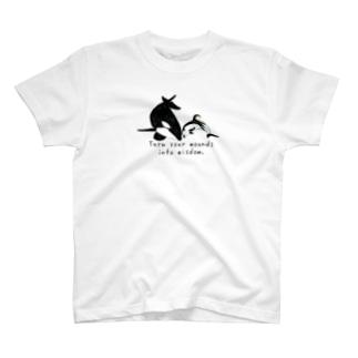 シャチ&カマイルカ「あなたの傷を知恵に変えなさい」 T-shirts