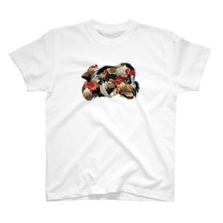 日本の美 葛飾北斎「群鶏」カラー版 T-shirts