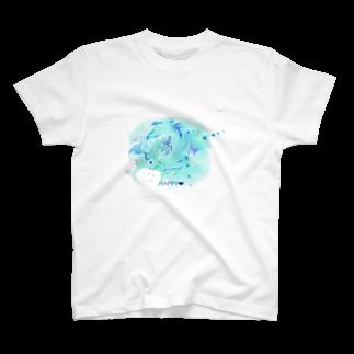 -saku-のマーブル青系 T-shirts