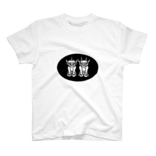 ふたりの子鬼(楕円) T-shirts