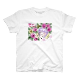 Ang27エンジェルと薔薇の花 T-shirts