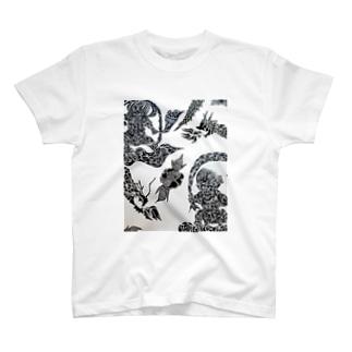 トライバル風神雷神龍神薔薇 T-shirts