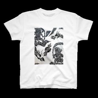 🔥Ryuu🔥絵描き師🔥依頼はDMください😄のトライバル風神雷神龍神薔薇 T-shirts