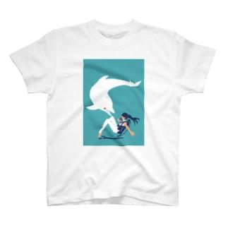 白イルカとダイバーちゃん T-shirts