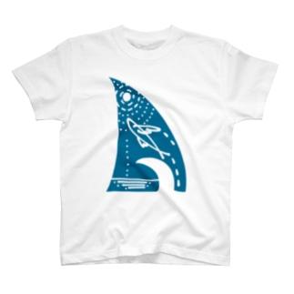 トビウオ青(裏文字付) T-shirts