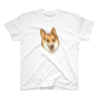 荒ぶるコーギー 縦揺れ T-shirts
