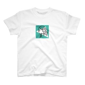 サンカクラウンドガール(bluegreen) T-shirts
