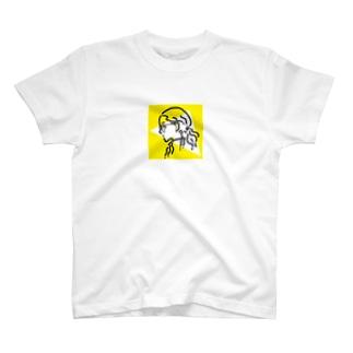 サンカクラウンドガール(yellow) T-shirts