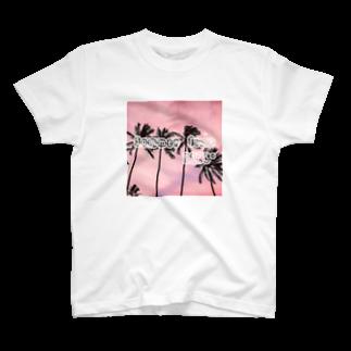 MAD LOVEのPalm Tree Pink T-shirts