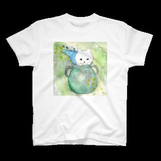 フクモトエミのみずがめ座のネコ T-shirts