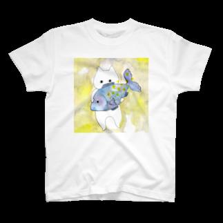フクモトエミのうお座のネコ T-shirts