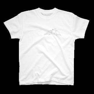 Lily bird(о´∀`о)のセキセイインコと文鳥とクローバー モノクロ① T-shirts