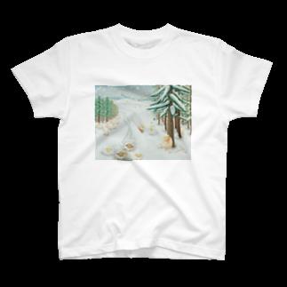 ひつじ好きの未草のギャラリーの羊雪季節 T-shirts