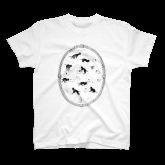 古書 天牛書店のこねことねずみ<アンティーク・イラスト> T-shirts